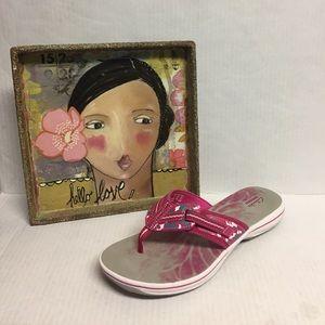 Clarks Brinkley 10 Pink Flip Flop Sandals